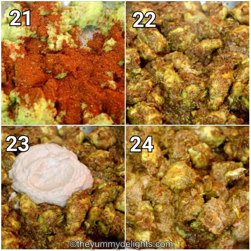 step by step image collage of addition of gavran chicken masala and coconut paste to the gavran chicken curry.