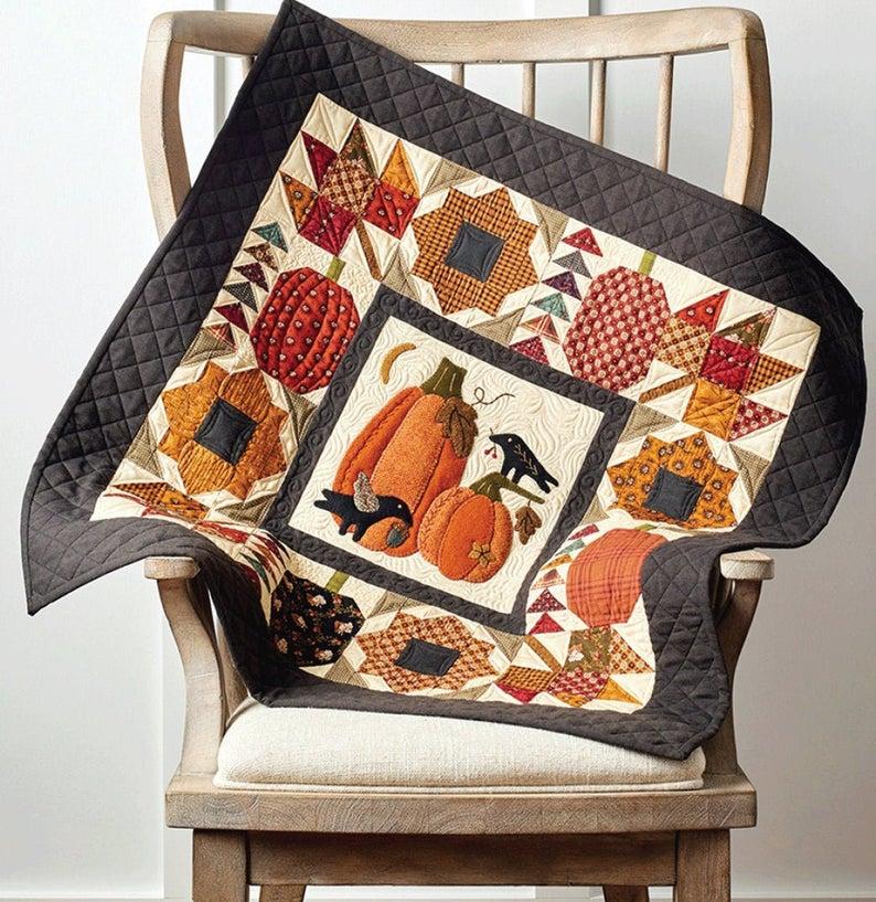 pumpkin patch applique quilt wall pattern