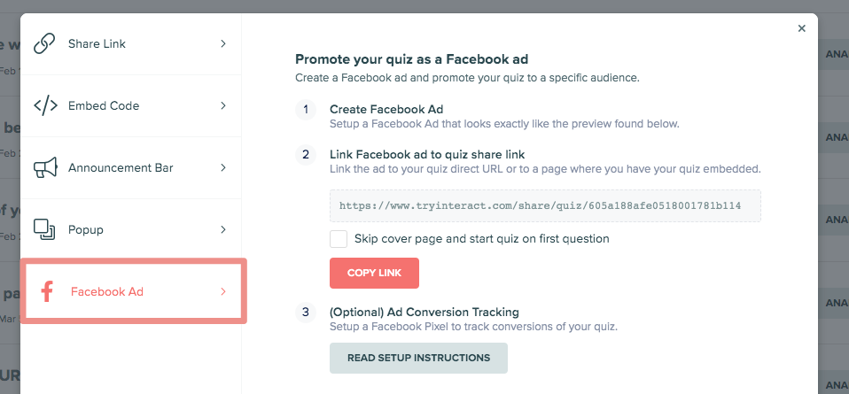 image of steps for Facebook ad in Interact