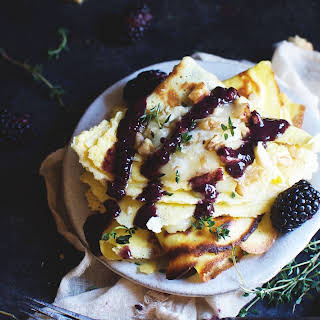 Low-Carb Crepes with Brie and Savory Blackberry Sauce.