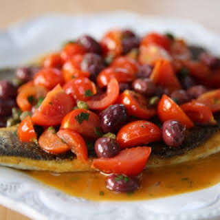 Pan-Seared Branzino with Tomato and Capers.