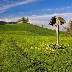 The way to church by Stane Gortnar - Uncategorized All Uncategorized ( hills, nature, church, way, landscapes,  )