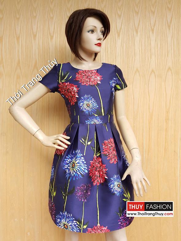 Váy xòe vải Taffeta bóng họa tiết hoa in 3D V437 thời trang thủy