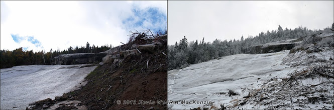 Photo: Seasonal comparison partway up the Skinny Slide.