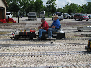 Photo: Ben Benda and Doug Blodgett on Doug's 2-6-0.  HALS-SLWS 2009-0523