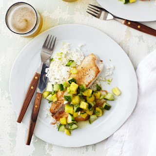 Seared Tilapia with Pineapple and Cucumber Relish.