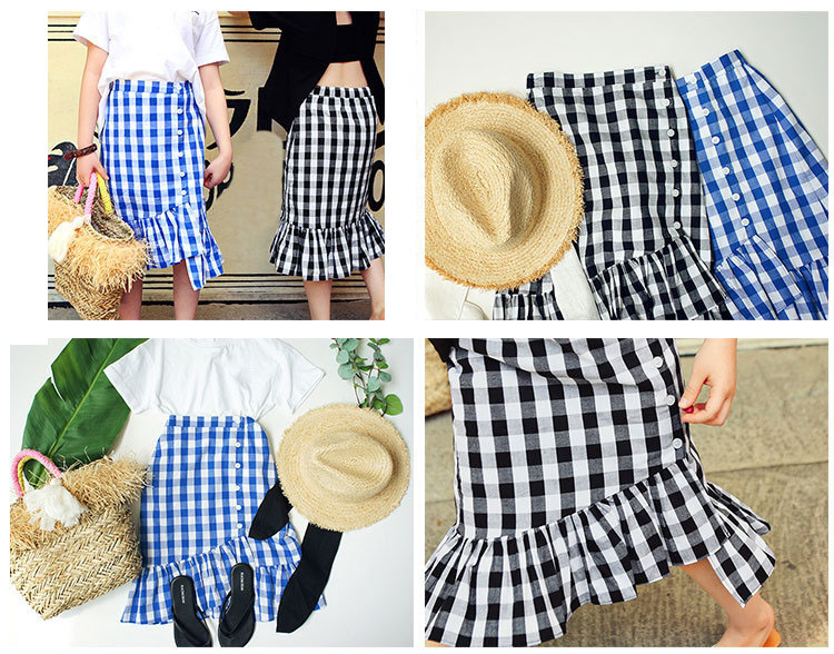 ruffles cotton baby teenage girls skirts mermaid white blue plaid long kids skirts for girls autumn spring children clothing (7)