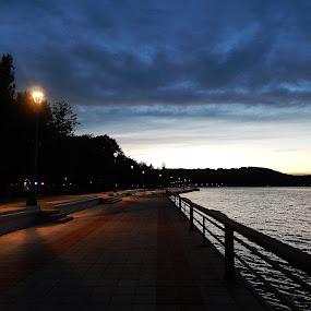 Golubac, Serbia by Irena Čučković - Landscapes Sunsets & Sunrises ( clouds, sky, evening, danube, river )