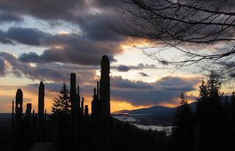 Photo: Totem poles of Burnaby mountain with Sun setting behind the cloud as background
