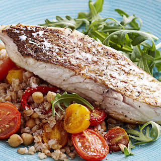 Pan-Seared Snapper with Barley Salad.