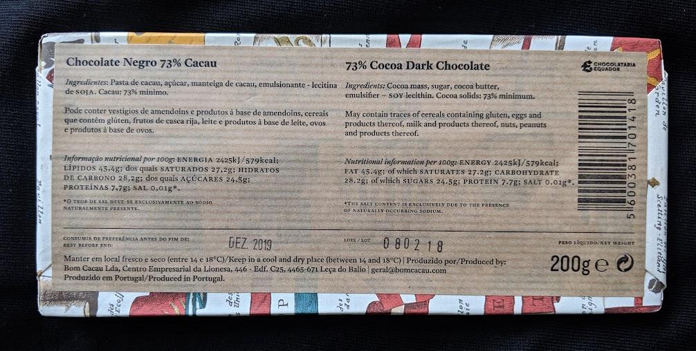 73% chocolateria equador plain bar