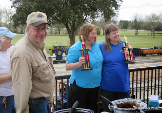Photo: Mary Lou Pasley, Bob Barnett,  JoAnn Maitland in first place and Marianne Nevil in second place.     HALS Chili Fest Meet 2014-0301 RPW