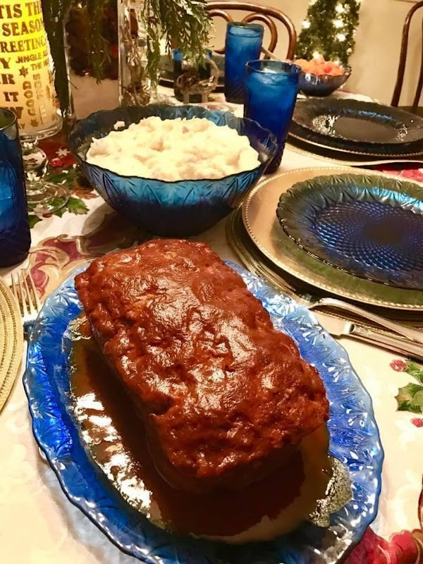 Lightly mix above ingredients for meatloaf, form into a loaf. Place in pan and...