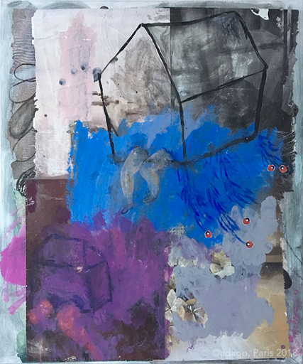 allegresse.sophie-lormeau-artiste-art-contemporain-figuratif-singulier-colorful-maison-flottante-aerien-jambe-enfance-reve-dream-memoire-ancestral-metamorphose-peinture-acrylique-collage-crayon-papier-magazine