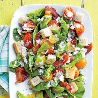 BLT Salad with Buttermilk-Parmesan Dressing and Buttery Croutons