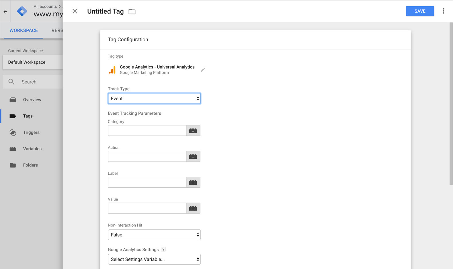 Tag Configuration - Event - Google Tag Manager