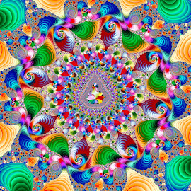 Mini-Mandy at the End of the Rainbow by Peggi Wolfe - Illustration Abstract & Patterns ( abstract, wolfepaw, gift, unique, bright, illustration, fun, digital, print, décor, ultrafractal, pattern, color, unusual, fractal )