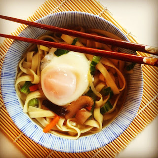 Speedy Udon Noodle Soup with Bok Choy and Poached Egg