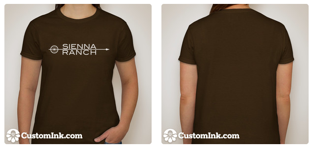 White logo printed on chocolate brown t-shirt.