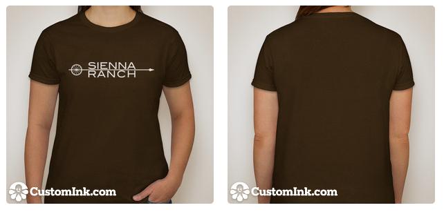 White logo printed on chocolate brown t-shirt.