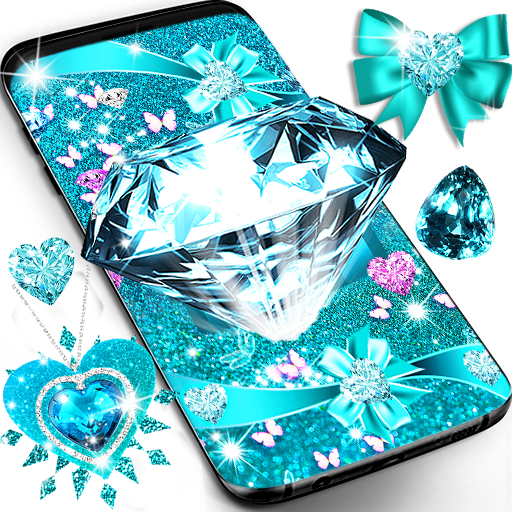 Turquoise blue diamond glitter live wallpaper