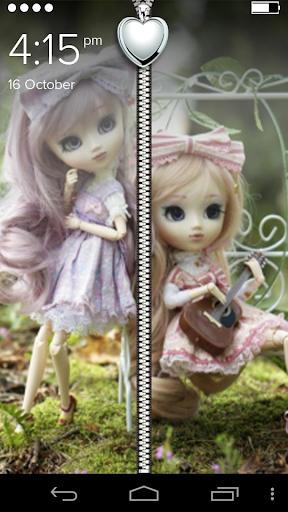 Cute Girls Zipper Lock Screen