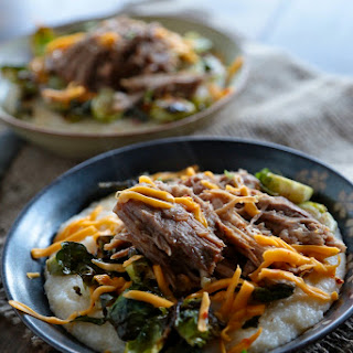 Pulled Pork with Cheesy Grits and Roasted Vegetables