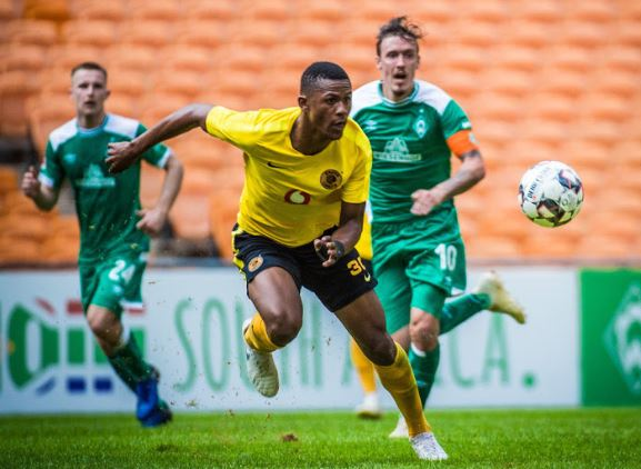 Kaizer Chiefs defender Siyabonga Ngezana in action against Bundesliga side Werder Bremen at FNB Stadium during a friendly match played behind closed doors.
