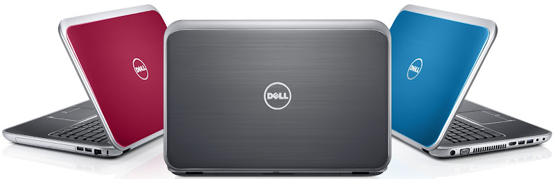 Photo: Dell Inspiron 15R laptops with SWITCH lids in Moon Silver, Fire Red, and Peacock Blue - http://dell.to/LZBTKk