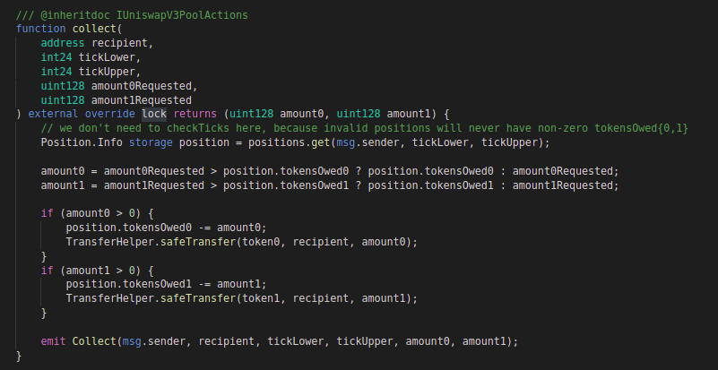 Uniswap v3: Code block for collect function (Core contract)