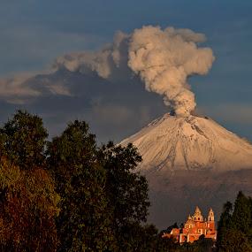Smoking volcano and church by Cristobal Garciaferro Rubio - Landscapes Mountains & Hills ( cholula, volcano, popo, mexico, puebla, popocatepetl, snowy volcano )