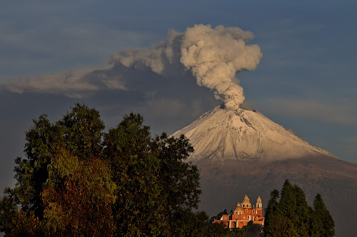 Smoking volcano and church by Cristobal Garciaferro Rubio - Landscapes Mountains & Hills ( cholula, volcano, popo, mexico, puebla, popocatepetl, snowy volcano )