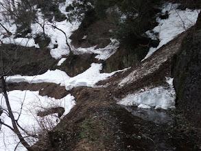 何箇所か雪崩跡
