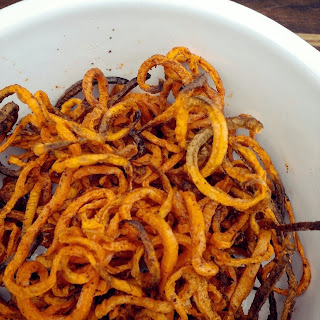 Easy ActiFry Spiralized Sweet Potato Fries.