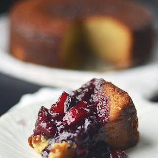 Yogurt Cake w/ Peach Blueberry Compote.