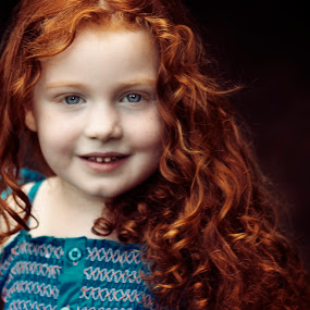 Redhead in the yard by Joseph Humphries - Babies & Children Children Candids ( canon, blueeyes, beautiful, bluedress, innocence, greatsmile, redhead, bokeh, outside,  )