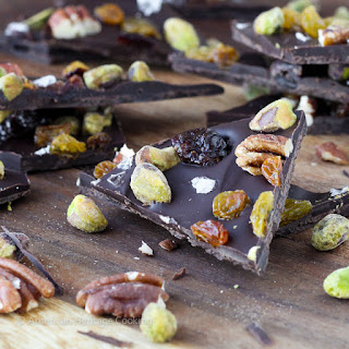 Salted Chocolate Cherry Pistachio Pecan Holiday Bark