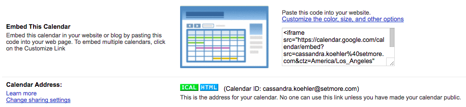 A menu option showing you how to embed your Google calendar.