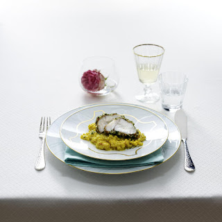 Herb-Macadamia Crusted Monkfish with Pearl Barley Risotto.
