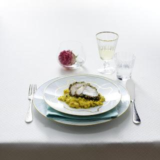 Herb-Macadamia Crusted Monkfish with Pearl Barley Risotto.