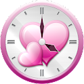 Pink Heart Analog Clock Widget icon