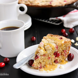 Cranberry Orange Skillet Cake with White Chocolate
