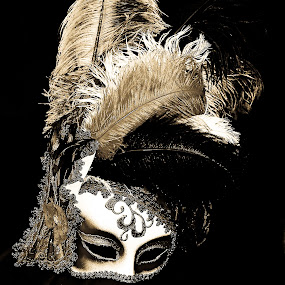 Mask by Stefen Dicks - Artistic Objects Other Objects ( italian, black & white, masquerade, fine art, party, feathers )