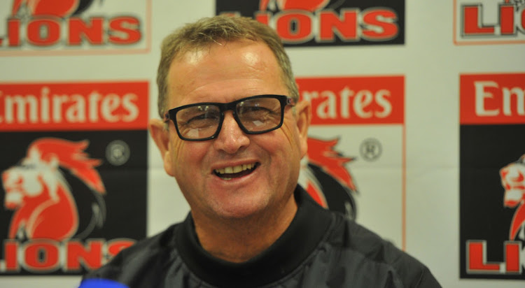 The Emirates Lions head coach Swys de Bruin smiles during a press conference on 15 February 2018 at Ellis Park.