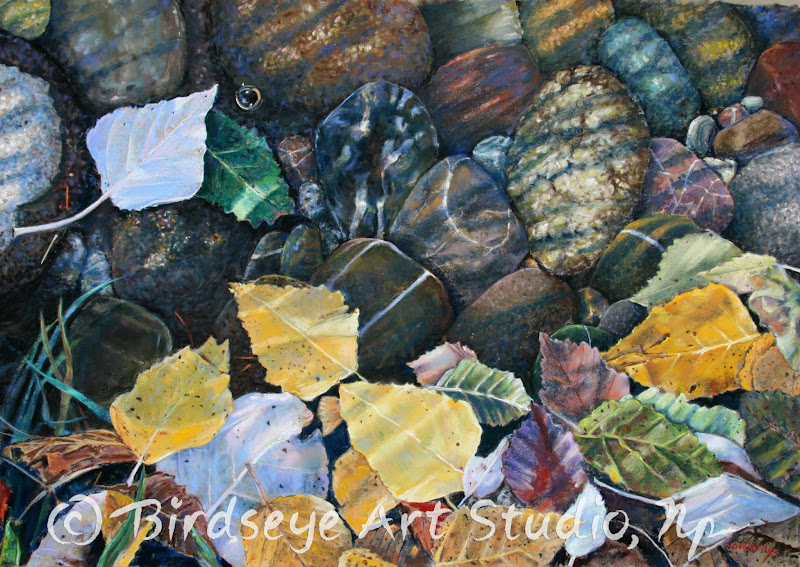 """Photo: Leaves, Water, and Rocks 2012 (c) Np H 24"""" L35"""" Order a fine art giclee athttp://fineartamerica.com/featured/leaves-water-and-rocks-nick-payne.html"""