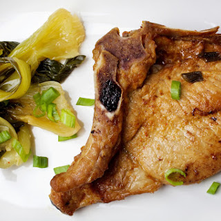 Asian-Marinated Pork Chops With Bok Choy.