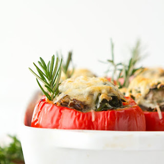 Stuffed Peppers with Wild Rice and Asiago.