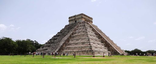 The massive step pyramid El Castillo dominates the 2.5-square-mile ancient Maya city of Chichén Itzá on Mexico's Yucatán Peninsula.