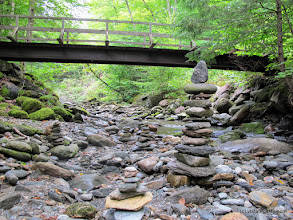 Photo: Bridge crosing to the B Section  and rock tower at Little River State Park