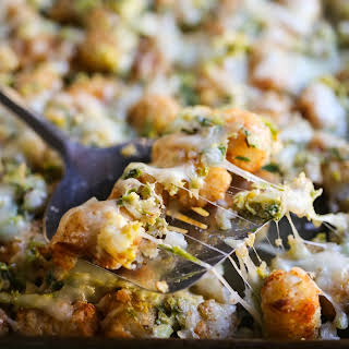 Creamed Brussel Sprout Tater Tot Casserole.